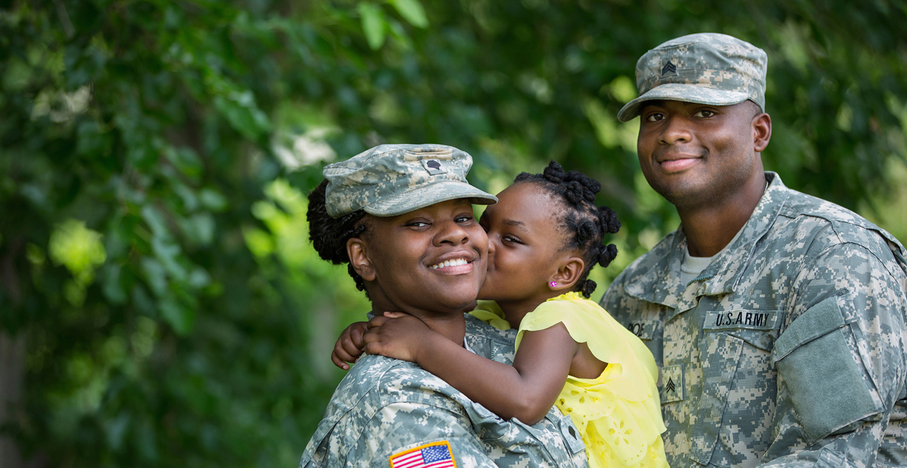 Military Family of 3 in Uniform